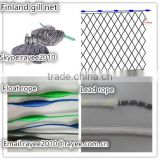Gill net China Handmade finland fishing net,double knot 10 mesh depth x 100m length with float rope and lead rope