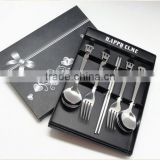stainless steel silver and gold cutlery set, spoon, chopsticks, fork 5 PCS set with gift box