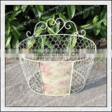 Oval shape pink rose designed outdoor decorative wall wrought iron planter stand/metal plant pot holder/wholesale garden decor