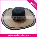 2016 New Fashion Summer Large Brim Beach Sun Womens Hats Ladies Black Stripes Floppy Straw Hat