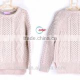 children's long sleeve beige plain solid color cable knitting patterns sweater