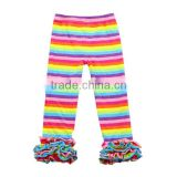 2017 New design rainbow strip icing cute baby girls pants readymade garments sequin pants for kids girl leggings