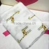 Cute giraffe breathable soft bamboo baby muslin blanket