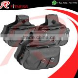 RC Fitness leather saddle bag - Black Motorcycle Panniers Saddle Bags Tour Faux Leather Motorbike Luggage