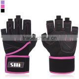 "Women's Padded Anti-Slip Weight Lifting Gloves with 18"" Wrist Wraps"