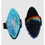 horse body brush with plastic bristle for grooming/rainbow strap