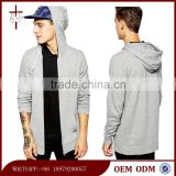 Yong Men's Longline Zip Up Hoodie Plain Hoodie Wholesale