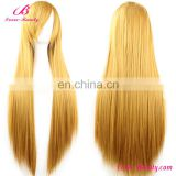 Yellow side fringe long straight cheap women wigs synthetic hair