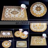 6pcs Bronzing pvc placemat Dining Table Mat golden coaster waterproof insulation pad Tableware Utensil Restaurant