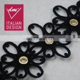 2017 new design black color cotton eyelet lace trim for garment decoration