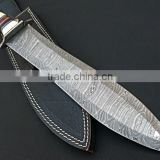"udk h109"" custom handmade Damascus hunting knife / Bowie knife with Buffalo horn handle"
