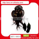 China import peacock feather brown brooch hair clips with crystal