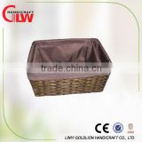 set of 2 brown paper rope basket with lining, paper wrapping gift set, cardboard paper suitcase set