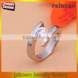 Fashion Imitation Diamond Jewelry 2 Gram White Gold Cubic Zirconia Stainless Steel Wedding Ring