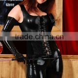 2012 black leather catsuit for women