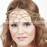 Fashion metal noble gold cystal stone round elastic hair band hair accessories for women