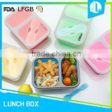 Portable leakproof cheap colorful silicone lunch box 3 compartment                                                                         Quality Choice                                                                     Supplier's Choice