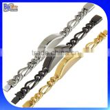 Custom Fashion Gold & Black Plated Heavy Wide Men Stainless Steel ID Bracelet Wholesale                                                                         Quality Choice