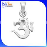 Fashion White Gold Plated Pave Cubic Zircon CZ 925 Sterling Silver Om Pendant