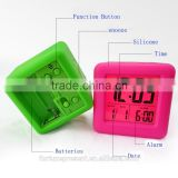 Multi-Color home silicone electronic clock table clock with back light,fashion silicone clock with date,alram