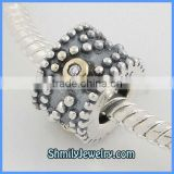 Wholesale 925 Sterling Antique Silver Beads With CZ Stones BCZ58