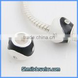 Wholesale Black & White Enamel Silver Charms Beads BES41