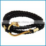 Fish Hook 18K Gold Bracelet Black Braided Nylon Rope Anchor Bracelet