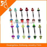 16g Cone Eyebrow Ring Body Jewelry Piercing with Surgical Steel Curved Barbell and 3mm Acrylic Balls
