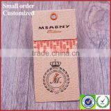 Decorated brand garment paper hangtags labels patches with eyelet