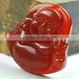 Red Agate Gemstone Tibet Buddhist Laughing Buddha Amulet Pendant
