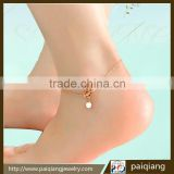 Wholesale fashion pearl and lotus anklets for female