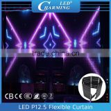 Indoor/outdoor slim led video curtain screen/magic effect led screen good for rental using/stage led background light