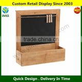 Country Rustic Wood Wall Mounted Erasable Chalkboard / Small Decorative Hanging Storage Shelf Rack YM5-1329