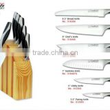 HOT SELL 7Pcs Plastic & Stainless Steel Handles Knives Set Stainless steel cutlery sets