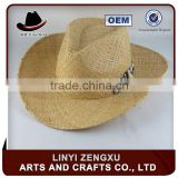 Straw knitted outdoor brown men cowboy hat