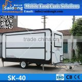 Commercial newest design world best mobile food cart with big wheels tricycle food cart with big windows food cart trailer