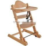 Solid beech wood high chair