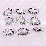 Natural Freshwater Baroque Pearl Beads, Crystal Pave Mother Of Pearl Connector Jewelry Beads