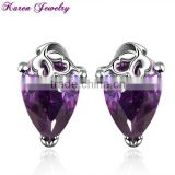 New Big Amethyst Purple Zircon Crystal Stud Earrings for Women Platinum Plated Gold Earring Gold Earrings