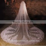 2015 wholesale long white sequins lace cathedral wedding veils accessories 5 meters long and 3 meters width with comb LV14