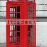 Botou hengsheng supplied high quality london telephone booth for sale / red antique telephone booth with glass steel HS-B-13