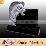 Simple design square shaped headstone tombstone with hand carved gray granite angel statues NTGT-061L