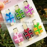 made in China hot sale wholesale high quality gift box wooden chothespins colored design wood cloth longline clips