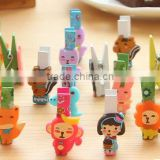 2017 hot sale made in China high quality graphic cute cartoon design colored customizable size wooden clothespin clips