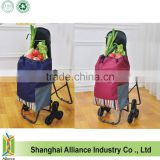 Custom Vegetable Climb Stair Trolley Shopping Bag with Chair