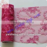 Wholesale soft pink floral embroidered tulle fabric with flower
