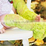 Newest Style!!! Lime green Lace Leg Warmers with Ruffles for Baby/Baby Leg Warmers with Ruffles low price wholesale