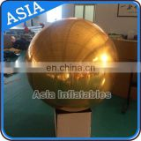 Golden Inflatable Mirror Sphere For Outdoor Live Concert Decoration