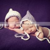 Crochet Newborn Twins Hat,Newborn Pixie White/Lavaner Twins Bonnet ,Newborn Photography Bonnet For Twins