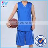 Yihao 2015 wholesale new design men plain blue 100 polyester dry fit basketball jerseys uniform